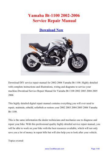 Yamaha Bt-1100 2002-2006 Service Repair ... - CoolManuals.com