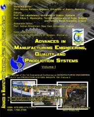 ADVANCES in MANUFACTURING ENGINEERING ... - Wseas.us