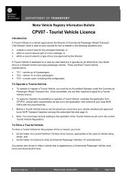 Information Bulletin CPV07 - Tourist Vehicle Licence - Department of ...