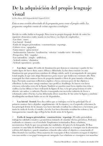 De la adquisición del propio lenguaje visual - Paco Rosso, fotografía