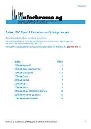 Zorbax HPLC Säulen & Kartuschen zum ... - infochroma ag