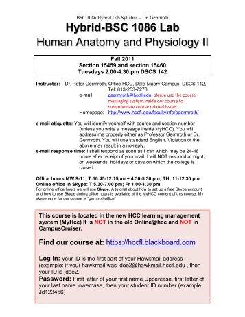 Biol 218 Anatomy and Physiology II Lab Syllabus - CBU