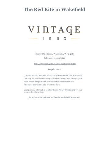 Download The Red Kite Sunday menu - Vintage Inns