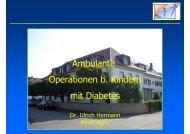 Ambulante Operationen bei Kindern mit Diabetes mellitus
