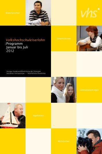 VolkshochschuleIserlohn : Programm Januar bis Juli 2012