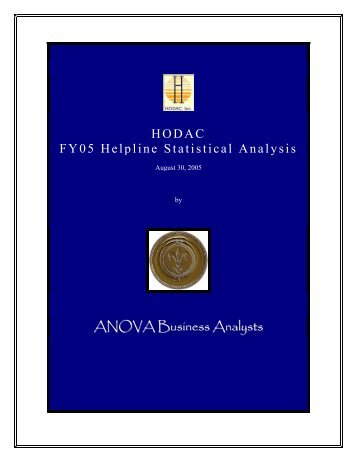 HODAC FY05 Helpline Statistical Analysis ANOVA Business Analysts