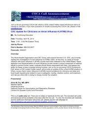 CDC Update for Clinicians on Avian Influenza A (H7N9) Virus