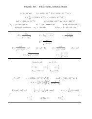 Formula sheet - Physics at Oregon State University