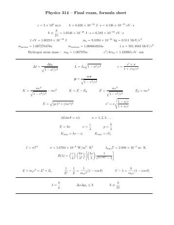 Formula sheet - Physics at Oregon State University