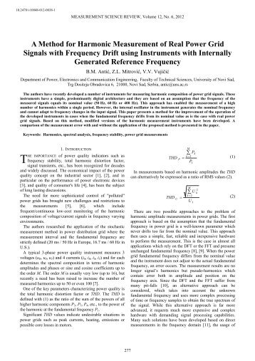 A Method for Harmonic Measurement of Real Power Grid Signals ...