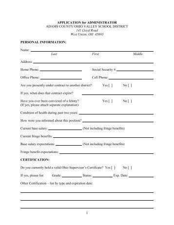employment application principal adams county ohio valley