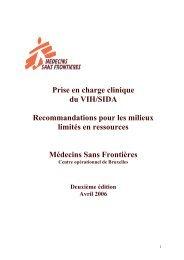 Prise en charge clinique du VIH/SIDA Recommandations pour les ...