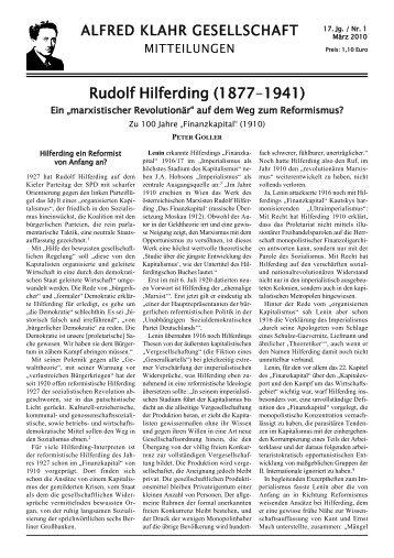 Mitteilungen der Alfred Klahr Gesellschaft, Nr. 1/2010, als pdf-Datei