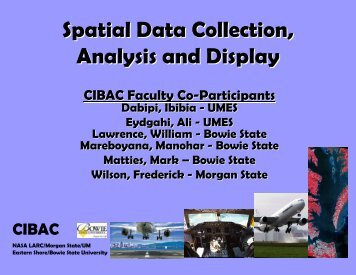 Spatial Data Collection, Analysis and Display - Morgan State ...