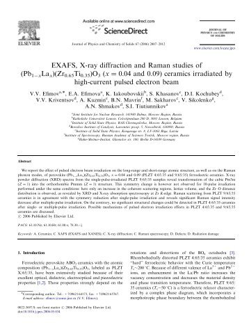 EXAFS, X-ray diffraction and Raman studies of (Pb1ÀxLax)(Zr0 ...