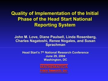 Quality of Implementation of the Initial Phase of the Head Start ...