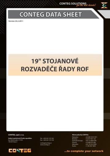 """CONTEG DATA SHEET 19"""" STOJANOVÉ ROZVADĚČE ŘADY ROF"""