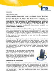 "Neues Solarmodul mit ""Made in Europe"" - jms Solar Handel GmbH"