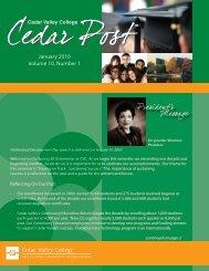 January 2010 Volume 10, Number 1 - Cedar Valley College