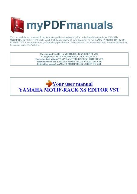 User manual YAMAHA MOTIF-RACK XS EDITOR VST - 1
