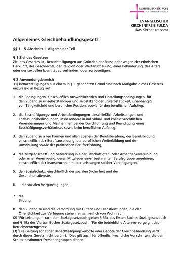 Allgemeines Gleichbehandlungsgesetz - Kirchenkreisamt Fulda