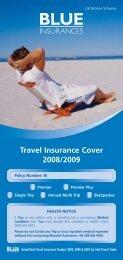 Travel Insurance Cover 2008/2009 - Blue Insurances