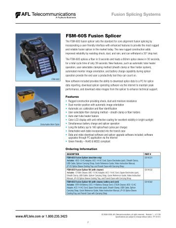 FSM-60S Fusion Splicer - Electro Rent Corporation
