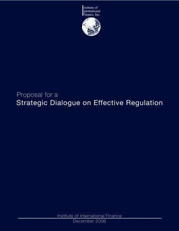 Proposal for A Strategic Dialogue on Effective Regulation