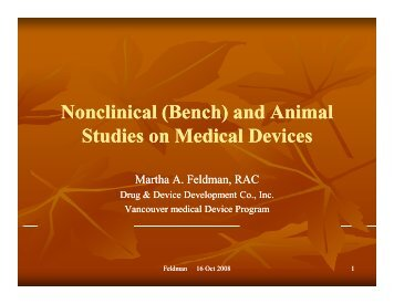 (Bench) and Animal Studies on Medical Devices - LifeSciences BC
