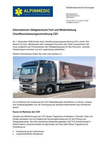 und Weiterbildung Chauffeur- zulassungsverordnung ... - Alpinmedic