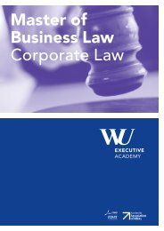 Broschüre Master of Business Law - WU Executive Academy