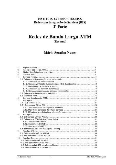 Redes de Banda Larga ATM - Ã rea Computadores