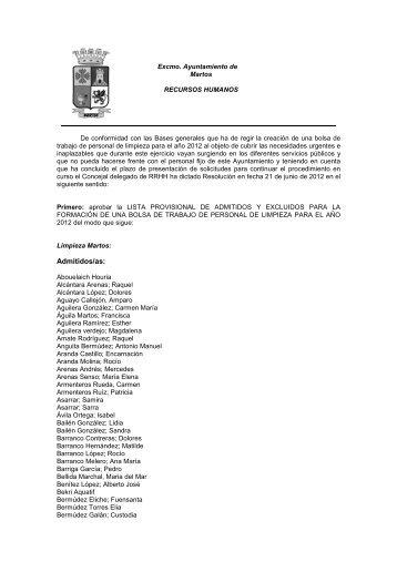 Lista provisional bolsa limpieza - ISOTools