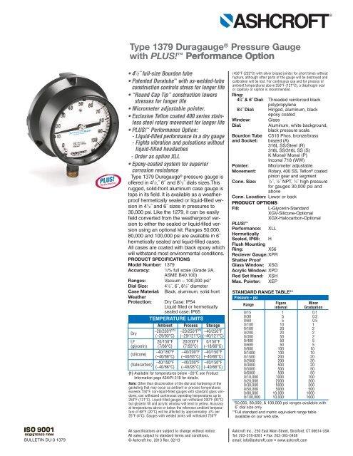 Type 1379 Duragauge® Pressure Gauge with PLUS! - Temp-Press Inc