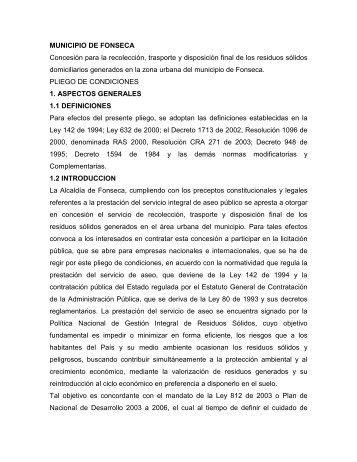 PLIEGOS ASEO DEL MUNICIPIO DE FONSECA
