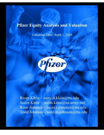 Pfizer Equity Analysis & Valuation