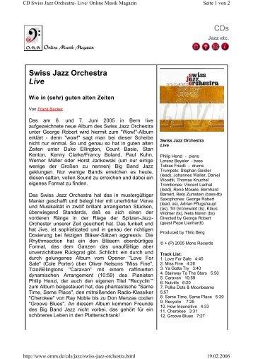 """""""Online Musik Magazin"""" vom 19.02.2006 - Swiss Jazz Orchestra"""
