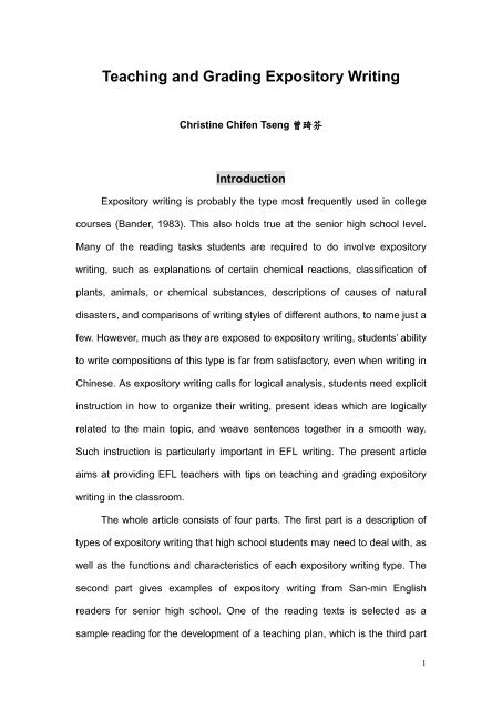 Examples Of Thesis Statements For Narrative Essays  High School Essays Topics also Compare And Contrast Essay Topics For High School Students Teaching And Grading Expository Writing Essay Writing Thesis Statement