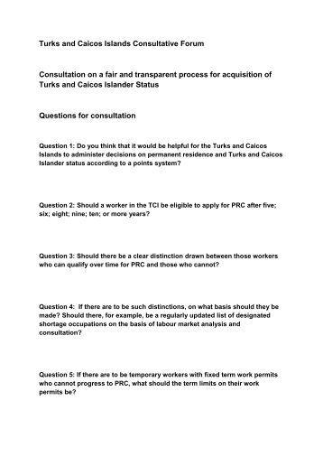 Turks and Caicos Islands Consultative Forum Consultation on a fair ...