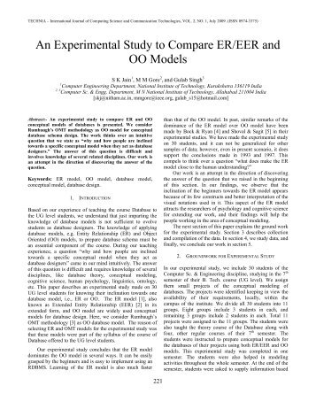 An Experimental Study to Compare ER/EER and OO Models - Technia