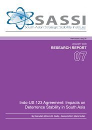 Indo-US 123 Agreement: Impacts on Deterrence Stability in South Asia