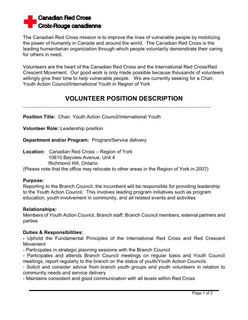 Chair, Youth Action Council - Canadian Red Cross
