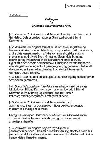 §. 1. Grindsted Lokalhistoriske Arkiv er en ... - Billund Kommune