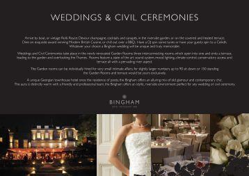 WEDDINGS & CIVIL CEREMONIES - The Bingham Hotel