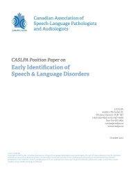 Early Identification of Speech & Language Disorders - caslpa