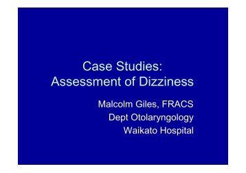 Case Studies: Assessment of Dizziness