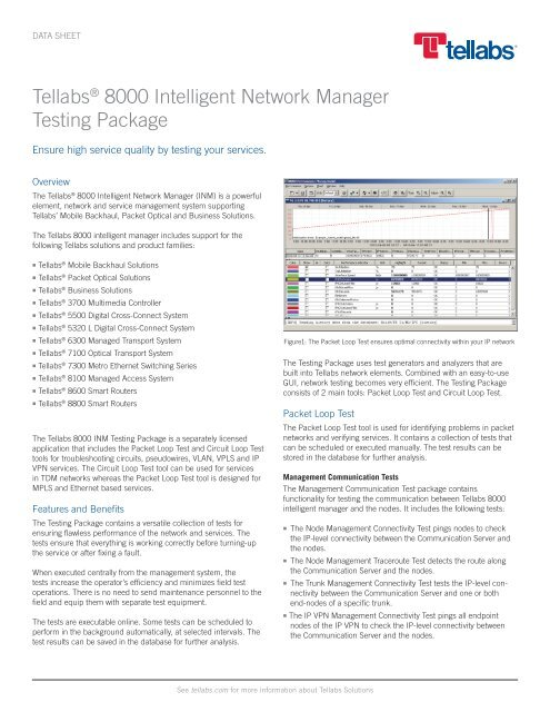 Tellabs 8000 Intelligent Network Manager - Testing Package