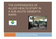 the experiences of allied health staff in a sub-acute dementia ward