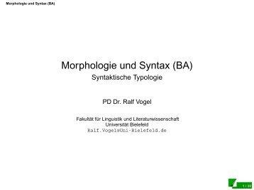 Syntaktische Typologie - Universität Bielefeld