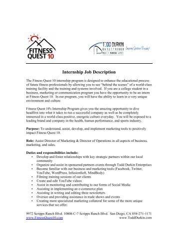 Job Description Front Office Internship
